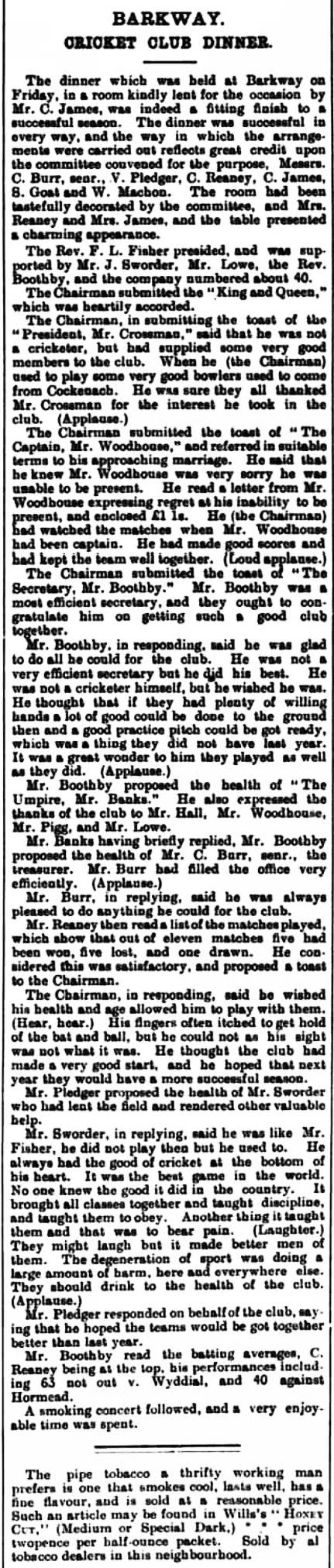 Barkway_Cricket_Club_Dinner_1908